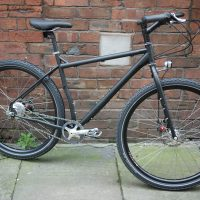 A matt black Surly Ogre running Rohloff